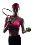 Silueta del retrato del jugador de tenis de la mujer Foto de archivo libre de regalías