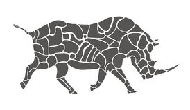 Silueta del rinoceronte imagen de archivo
