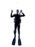 Silueta del salto del buceador del hombre aislada Imagenes de archivo