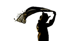 Silueta del ser humano que lleva a cabo gastos indirectos de la bufanda que fluyen aislados adentro Fotografía de archivo