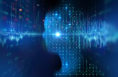 Silueta del ser humano virtual en enfermedad de la tecnología 3d del modelo del circuito Fotografía de archivo