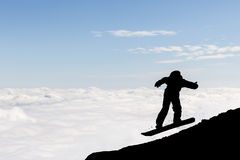 Silueta del snowboarder del estilo libre Imagen de archivo