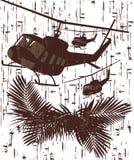 Silueta del soldado en la acción ejemplo del vector en el estilo 3 del grunge Foto de archivo libre de regalías