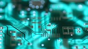 Silueta del tablero moderno del circuito impreso, Dolly Shot motorizada almacen de metraje de vídeo