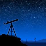 Silueta del telescopio Fotografía de archivo libre de regalías