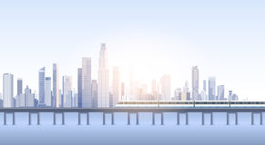 Silueta del tren del horizonte del fondo del paisaje urbano de la opinión del rascacielos de la ciudad con el espacio de la copia Imagenes de archivo