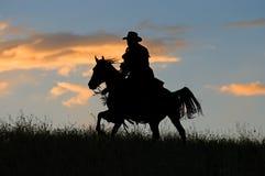 Silueta del vaquero Foto de archivo libre de regalías