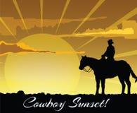 Silueta del vaquero en la puesta del sol