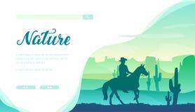 Silueta del vaquero que monta un caballo en el oeste salvaje stock de ilustración