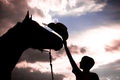 Silueta del vaquero y de su caballo Fotografía de archivo