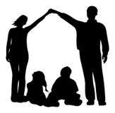 Silueta del vector de la casa de la familia ilustración del vector