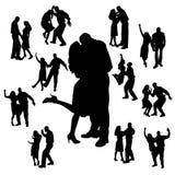 Silueta del vector de la danza Fotografía de archivo