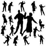 Silueta del vector de la danza Fotos de archivo