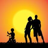 Silueta del vector de la familia Imágenes de archivo libres de regalías