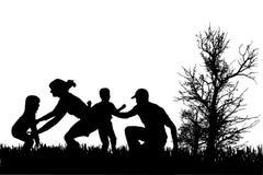 Silueta del vector de la familia Fotos de archivo libres de regalías