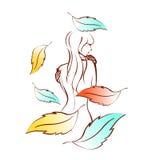 Silueta del vector de la mujer con las plumas coloridas Fotos de archivo