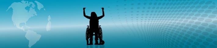 Silueta del vector de la mujer en silla de ruedas Imagen de archivo