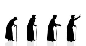Silueta del vector de la mujer mayor Foto de archivo libre de regalías