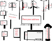 Silueta del vector de la pantalla del aire de la columna de la luz de la ciudad de la cartelera Foto de archivo libre de regalías