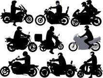 Silueta del vector de los jinetes de la motocicleta Imagenes de archivo
