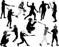 Silueta del vector de los jugadores de béisbol Foto de archivo