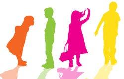 Silueta del vector de niños Imágenes de archivo libres de regalías