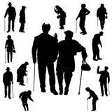 Silueta del vector de personas mayores Imagenes de archivo