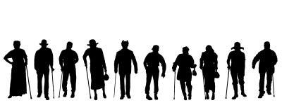 Silueta del vector de personas mayores Fotografía de archivo libre de regalías