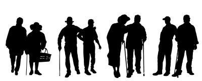 Silueta del vector de personas mayores Imagen de archivo