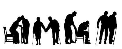 Silueta del vector de personas mayores Imagen de archivo libre de regalías