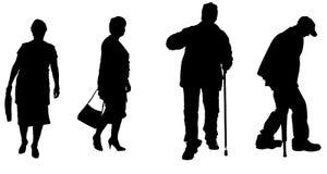 Silueta del vector de personas mayores stock de ilustración