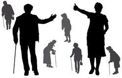 Silueta del vector de personas mayores Fotos de archivo libres de regalías