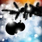 Silueta del vector de un árbol de navidad con los bulbos Fotografía de archivo libre de regalías