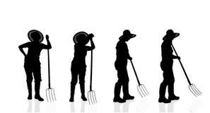 Silueta del vector de un jardinero Imagen de archivo