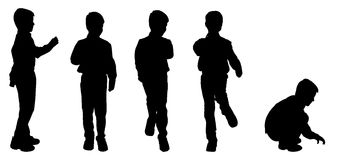 Silueta del vector de un muchacho Fotografía de archivo