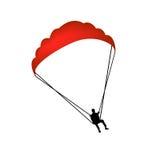 Silueta del vector del hombre del Paragliding Fotografía de archivo libre de regalías