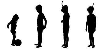 Silueta del vector del niños Foto de archivo libre de regalías