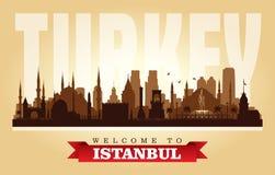 Silueta del vector del horizonte de la ciudad de Estambul Turquía ilustración del vector