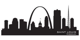 Silueta del vector del horizonte de la ciudad de Louis Missouri del santo stock de ilustración