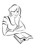 Silueta del vector - retrato de una muchacha hermosa con el libro Imagen de archivo libre de regalías
