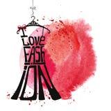 Silueta del vestido de la mujer Moda del amor de las palabras I Foto de archivo libre de regalías