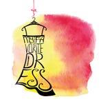 Silueta del vestido de la mujer Vestido preferido de las palabras Imagen de archivo libre de regalías