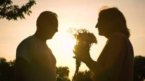 Silueta del viejo hombre que da las flores a la mujer, fecha romántica, atención, cuidado metrajes