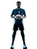 Silueta del voleibol del hombre Foto de archivo libre de regalías