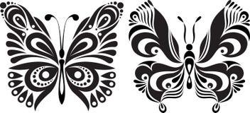 Silueta delicada de la mariposa Imagen simétrica de dibujo opciones Foto de archivo