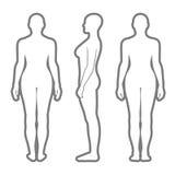 Silueta derecha desnuda de la mujer Fotografía de archivo