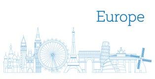 Silueta detallada del horizonte de Europa Ilustración del vector