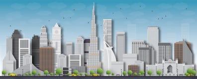 Silueta detallada del horizonte de la ciudad de Dubai Ilustración del vector
