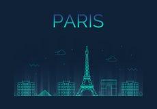 Silueta detallada del horizonte de la ciudad de París trendy Foto de archivo