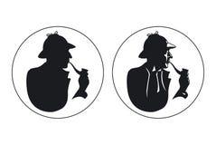 Silueta detective del fumador de tubo Sherlock Holmes ilustración del vector